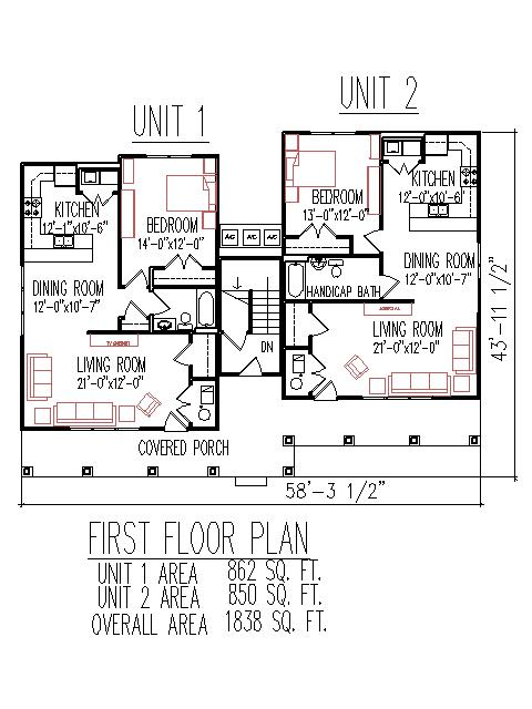 3 bedroom 2 story duplex plans for Triplex plans and designs