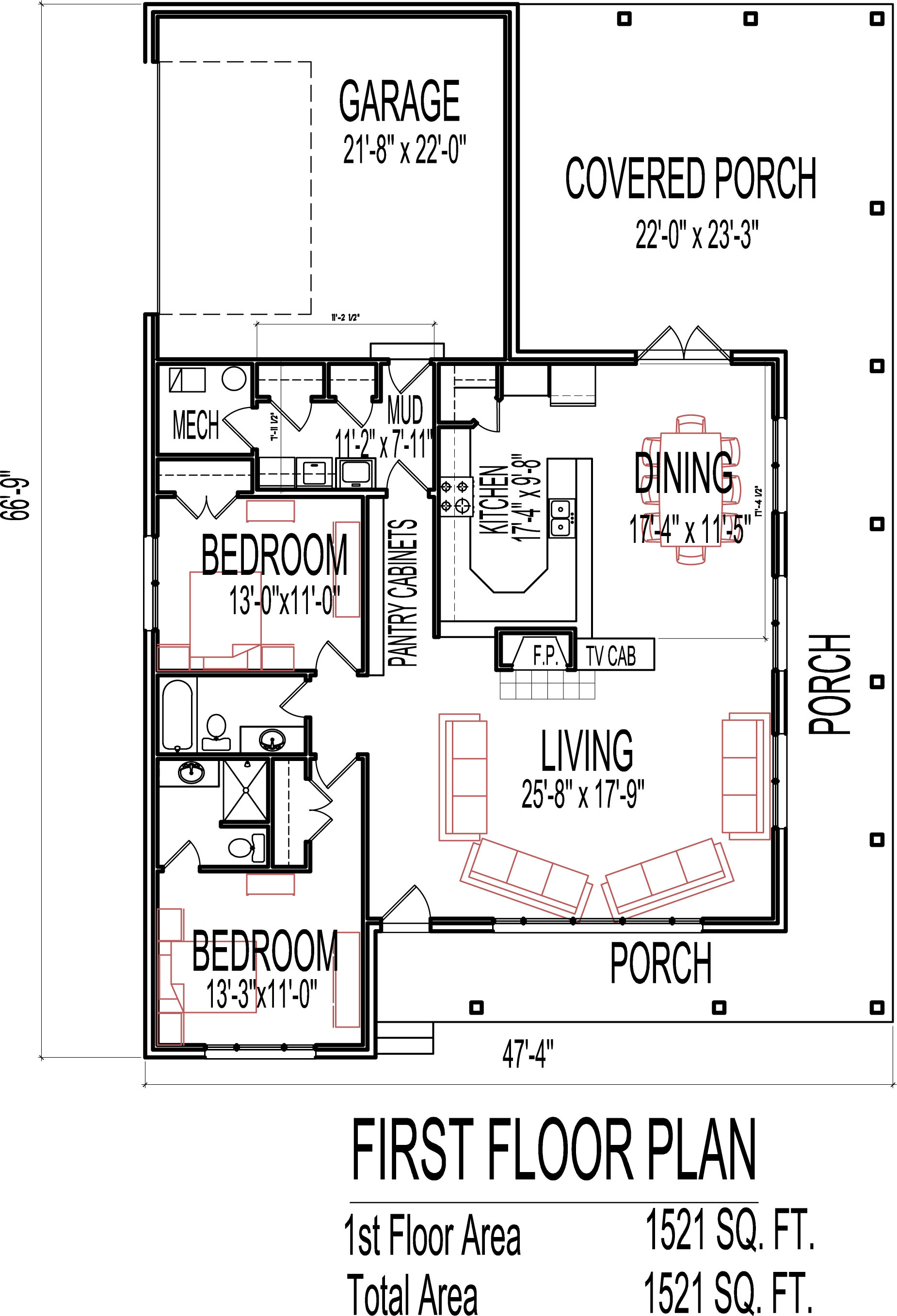 Stone Cottage House Floor Plans 2 Bedroom Single Story