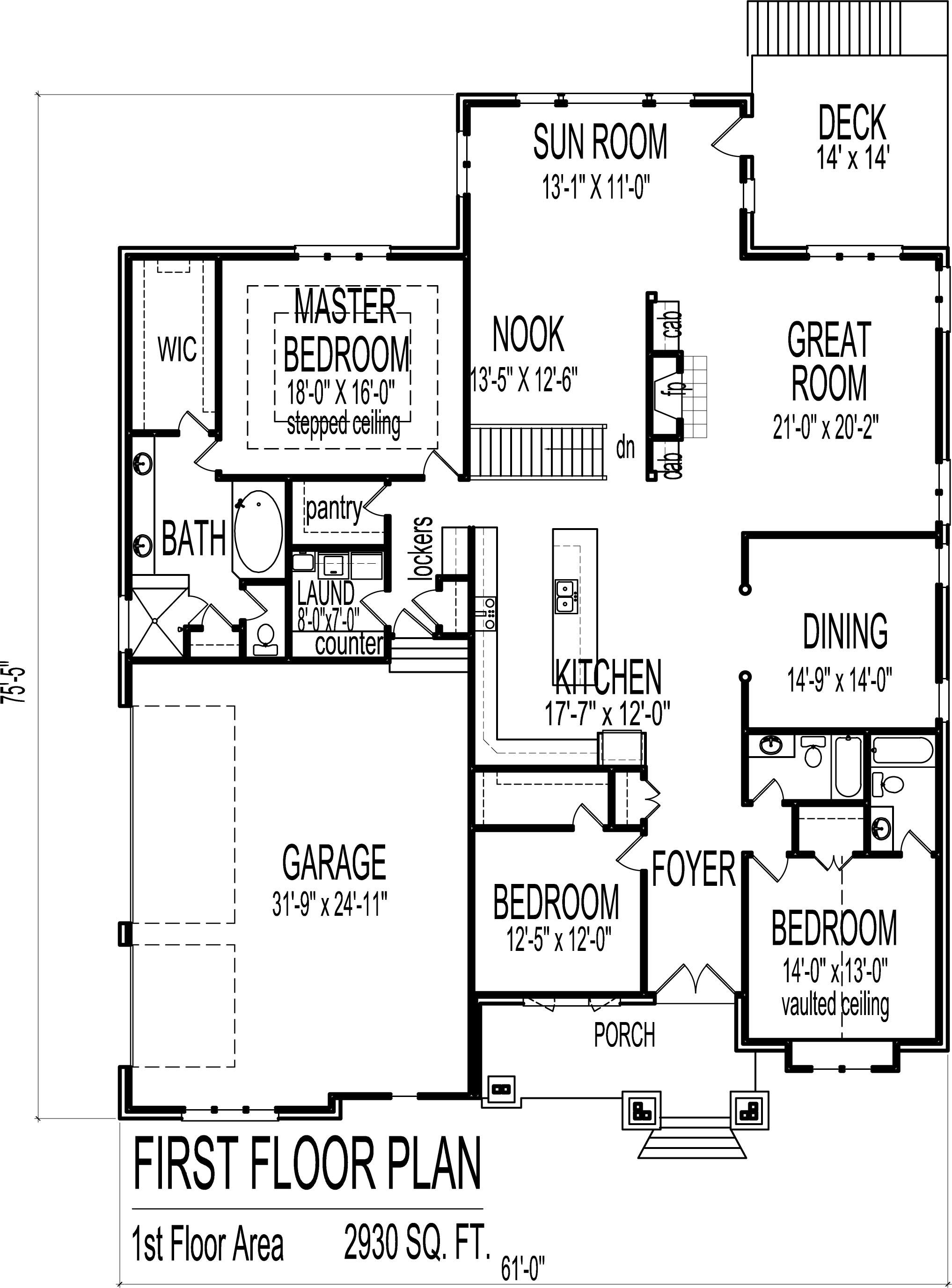 3 Bedroom Bungalow House Floor Plans Designs Single Story