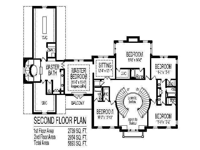 Grand Double Staircase House Floor Plans 5 Bedroom 2 Story