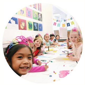 Photograph of children's birthday art party in store