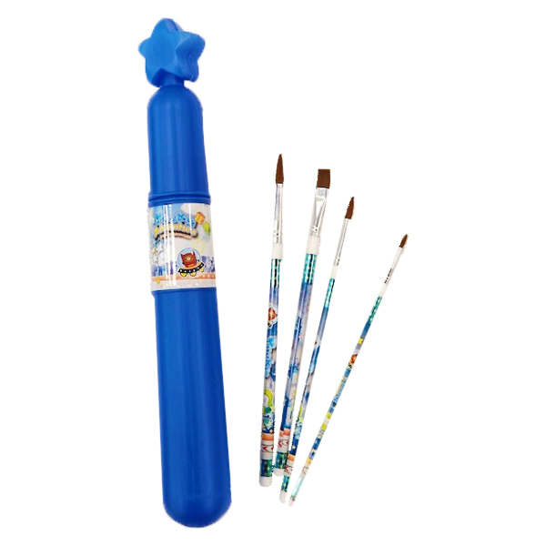 blue paint brush set with case