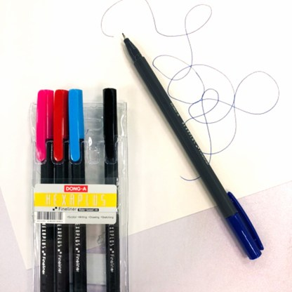 Set of 5 Multicolored Hexaplus Fine Liner Pen example used on paper