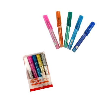 Set of 5 Multicolored Nail Pens example in packaging and without packaging