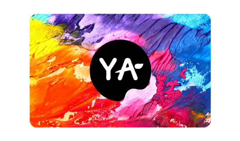 Gift Card with image of multicolored paint streaks and Young Art logo