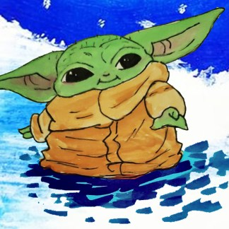 baby Yoda in winter composition