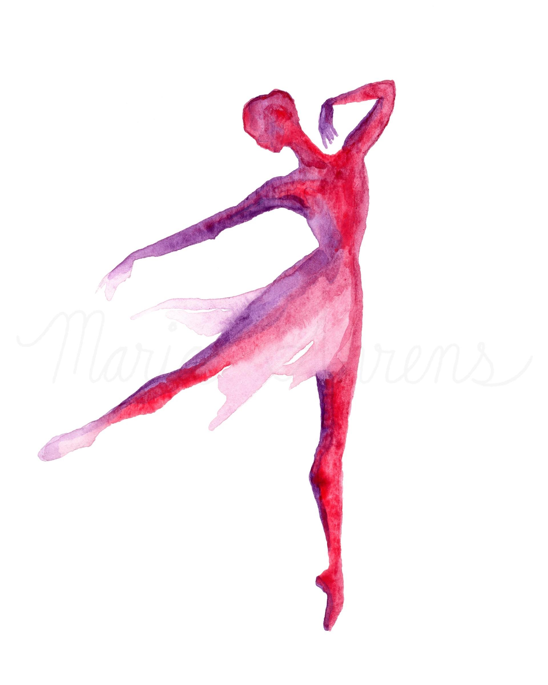 Ballet dancer silhouette composition