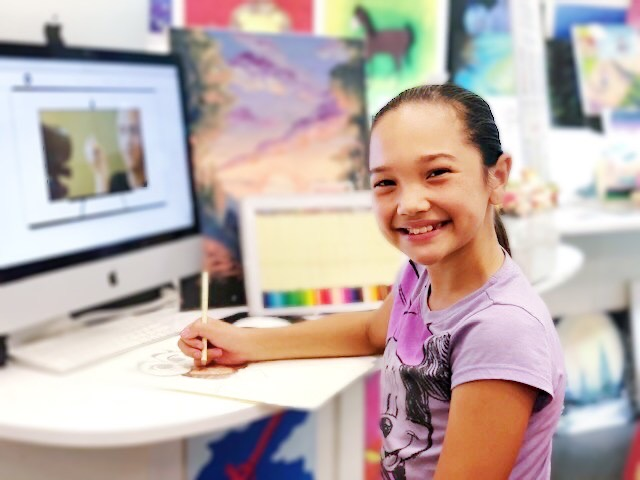 student taking virtual lessons