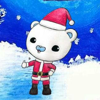 octonaut character in Santa suit composition
