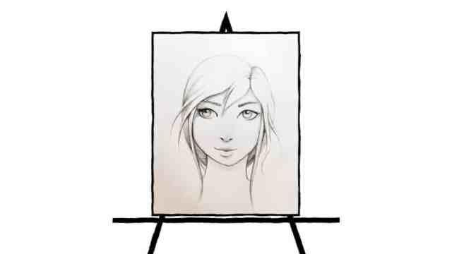 pencil sketch of a feminine face