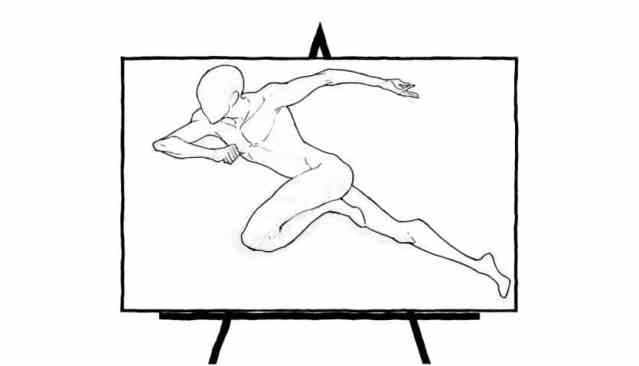 black and white sketch of running man human figure