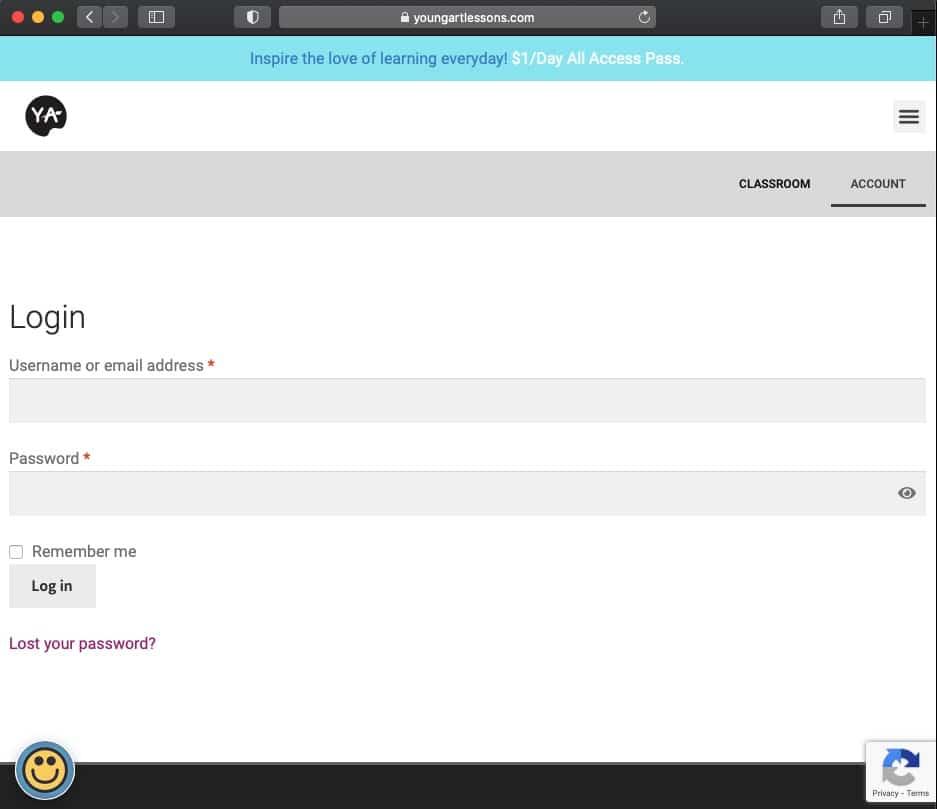 account login page screenshot
