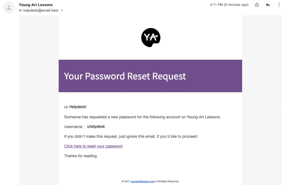 screenshot of the email from young art to reset