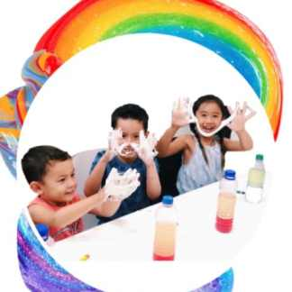 three children making slime