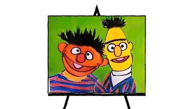 painting of sesame characters bert and ernie