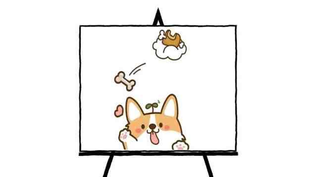 cartoon painting of corgi