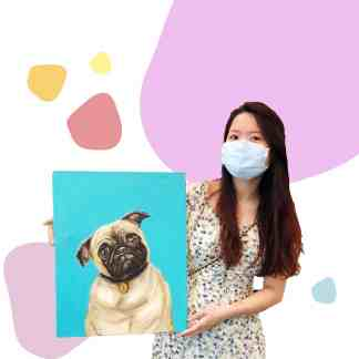 image of woman holding painting of pug