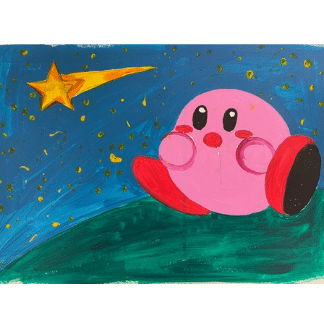 painting of a pink character watching a shooting star