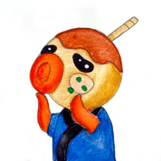 image of an octopus character wearing blue shirt