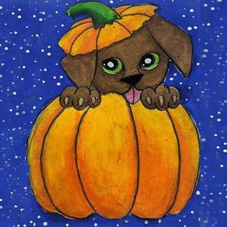 Pumpkin Dog painting