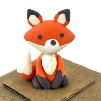 Fox clay sculpture