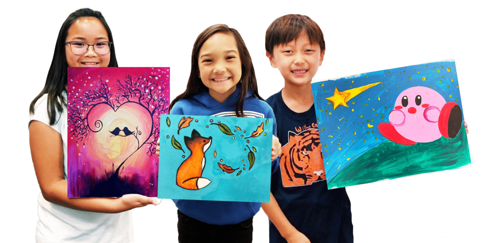 image of 3 kids holding their canvas paintings and smiling