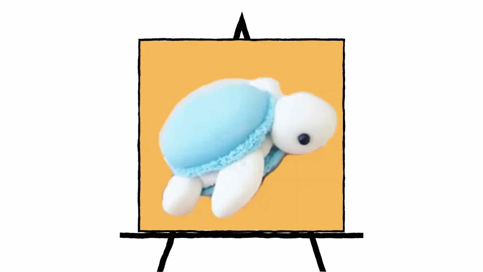 3d image of macaroon dessert in shape of a turtle with blue shells on orange background