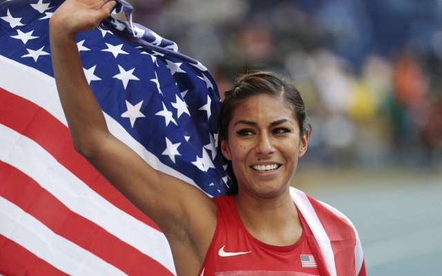 United States' Brenda Martinez celebrates winning silver in the women's 800-meter final at the World Athletics Championships in the Luzhniki stadium in Moscow, Russia, Sunday, Aug. 18, 2013. (AP Photo/Ivan Sekretarev)