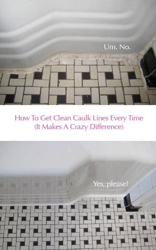 clean vintage bathroom tiles caulk