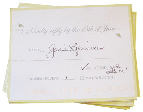 backyard wedding RSVP response cards with bees
