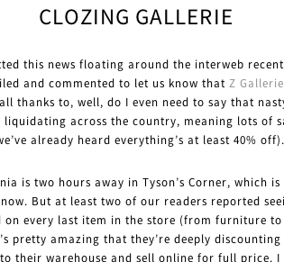 Z Gallerie Closes 25 Of It 77 Stores Nationwide. Layoffs? Boo. Sales? Yay.