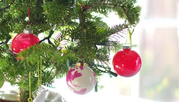 decorating our tabletop tree with handmade ornaments - Real Mini Christmas Tree