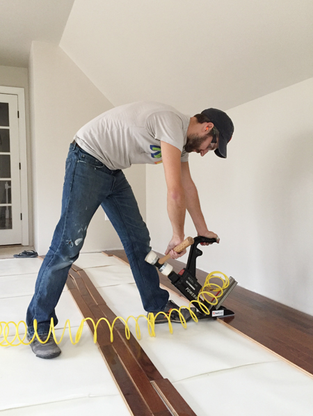 install hardwood flooring using rented floor nailer