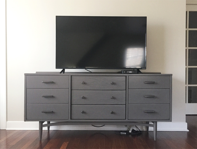 How-To-Hide-TV-Wires-TV-On-Dresser-Mess-Of-Cords