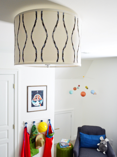 Boys Outer-Space-Bedroom Drum-Shade-Pendant-Light
