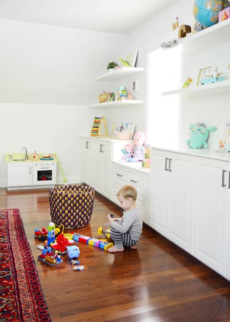 Playful-Family-Bonus-Room-Shelves-Legos-Playing