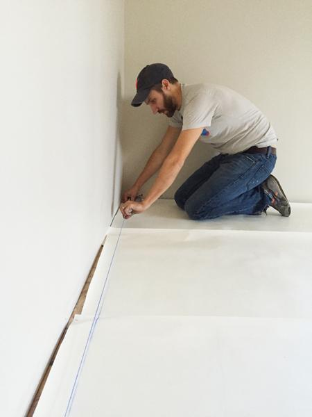 install hardwood flooring making chalk line