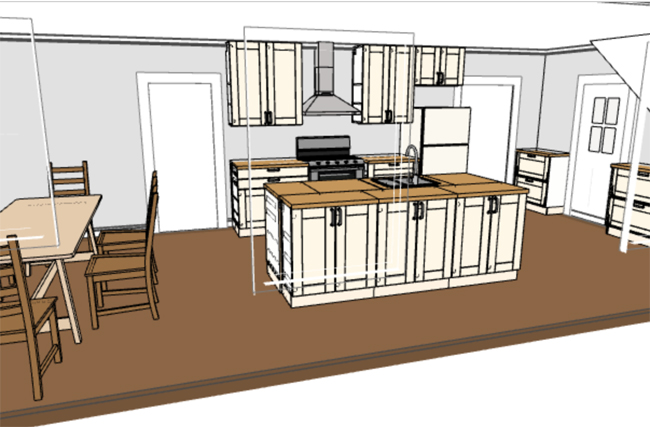 ikea 3D kitchen planning tool rendering with upper cabinets