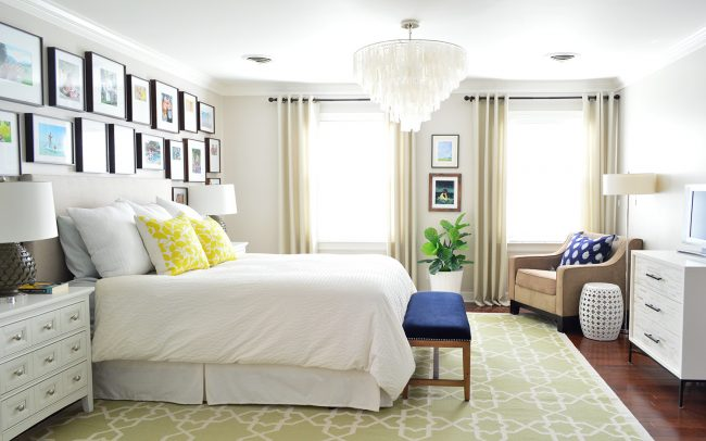 As The Curtain Rods And Hardware On Dresser While Chandelier S Finish Ties Into Floor Lamp Silver Nightstand
