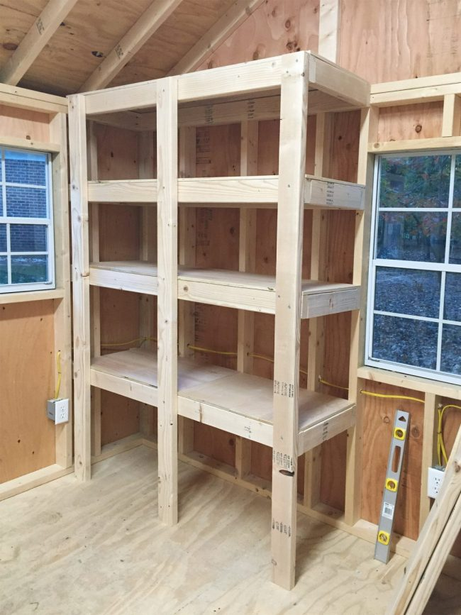 shed storage ideas adding tops to DIY wood shelves