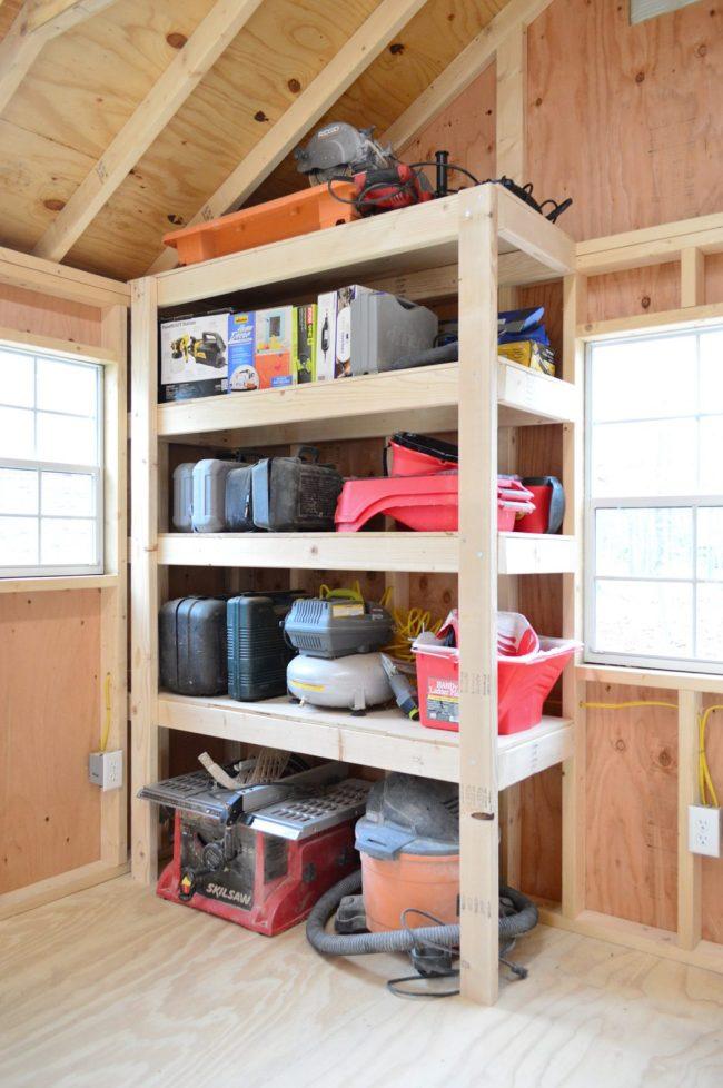 shed storage ideas DIY heavy duty wood shelves