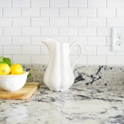 Subway Tiles In Kitchen Kohler Touchless Faucet How To Install A Tile Backsplash Young House Love Bright White With Gray Granite Counters