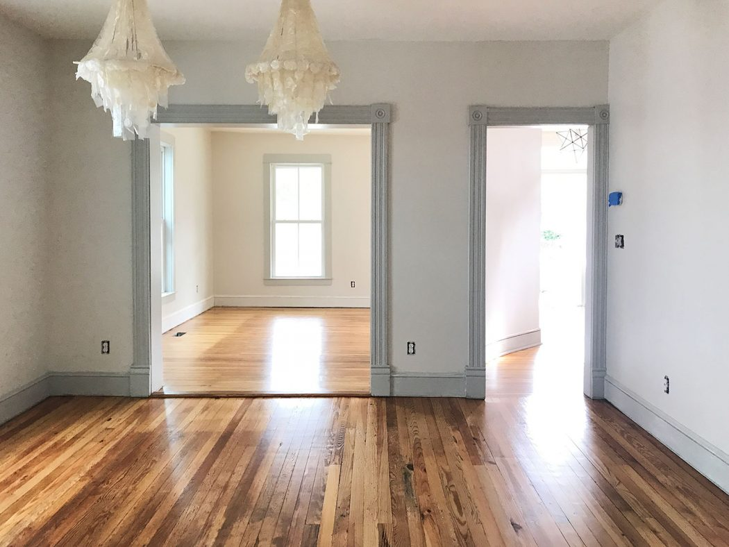 refinished pine floors dining room