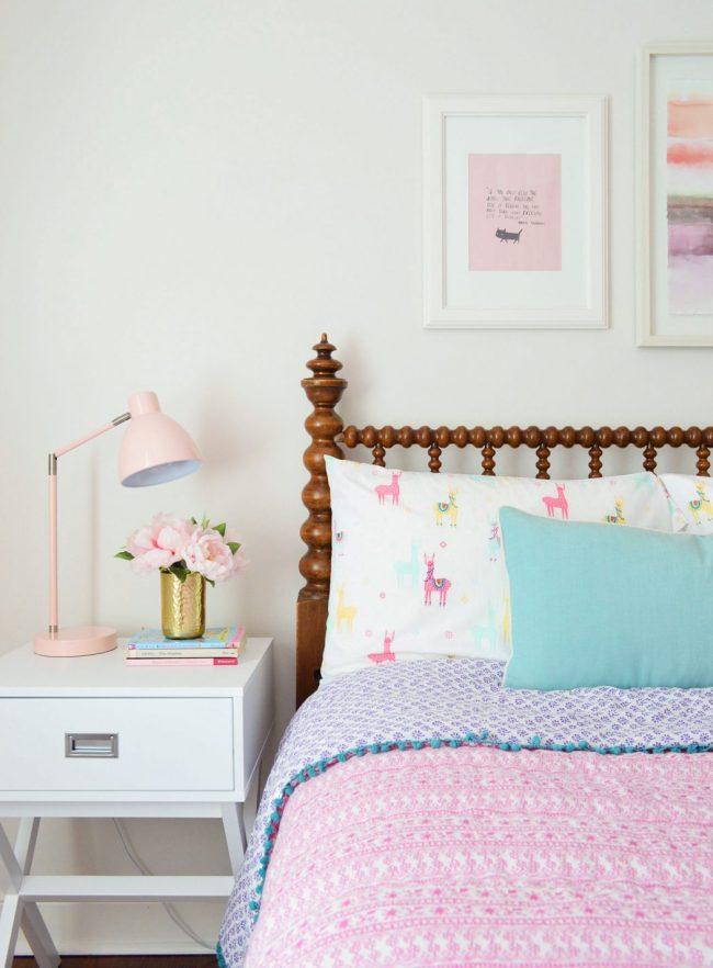girls bedroom target sidetable pink bedding