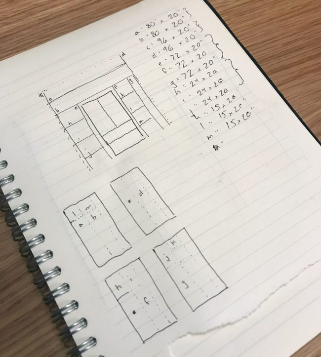 notebook with sketches of pantry shelves with materials outlined