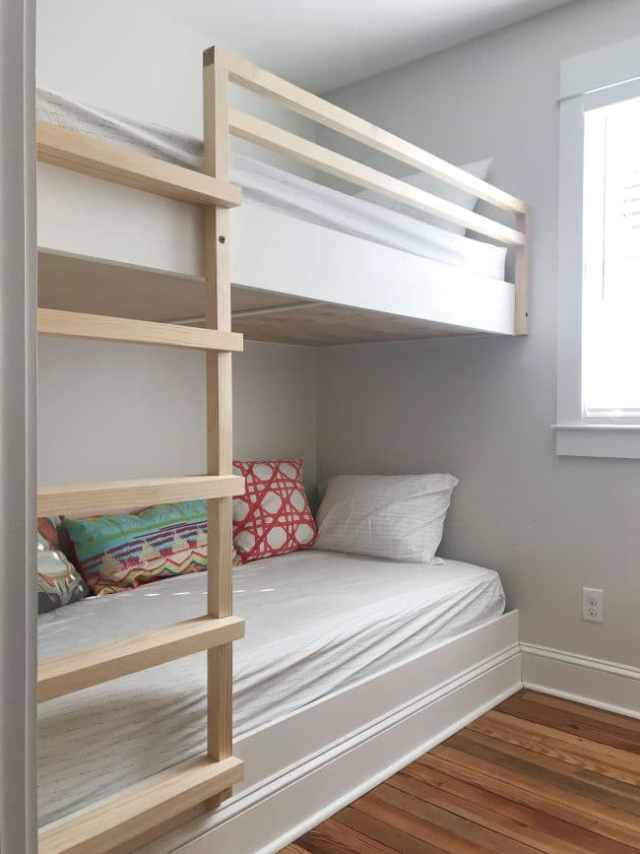 diy built in wall to wall bunk beds before ladder is stained