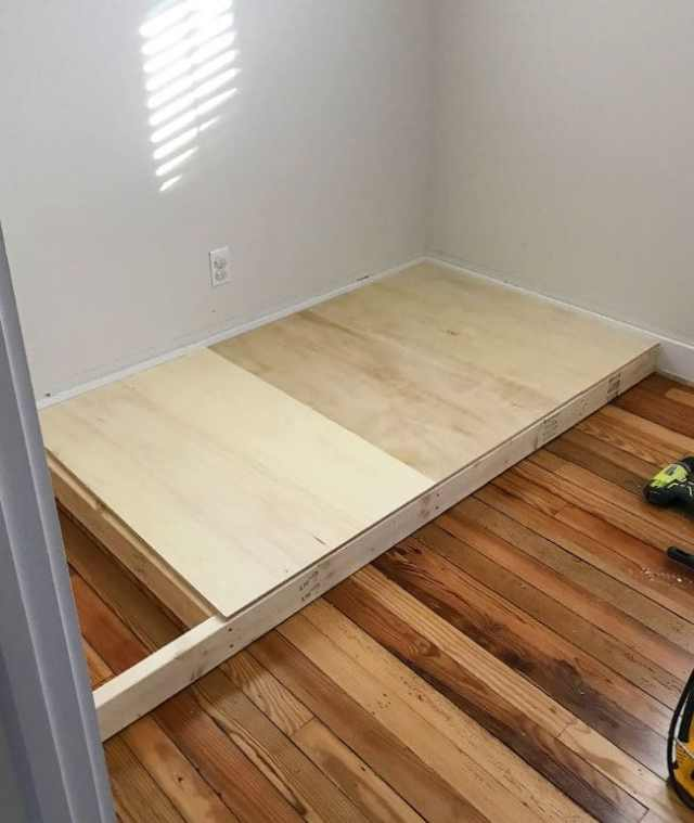 adding plywood to create base of bottom bunk bed