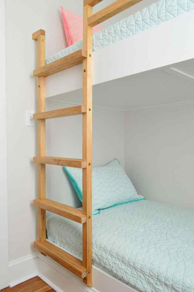 stained wood ladder for wall to wall bunk beds