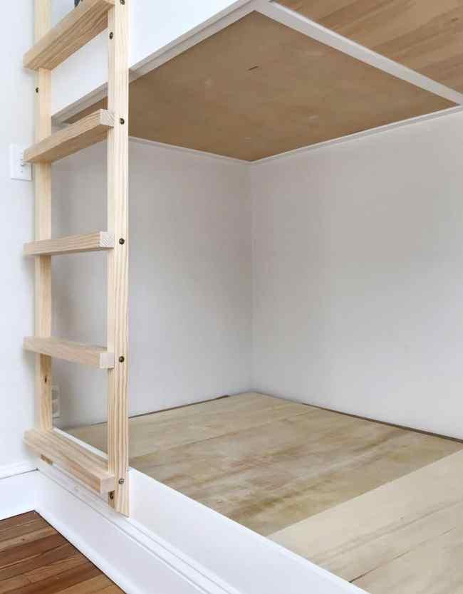 view of underside of built-in bunk beds
