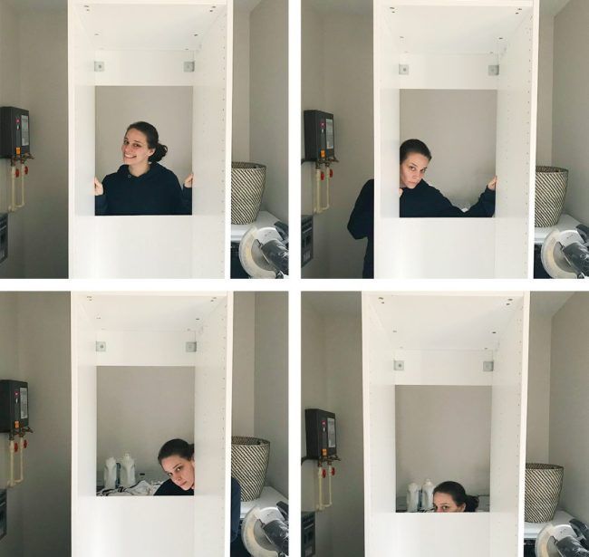 sherry making a series of faces in hole in back of pax wardrobe